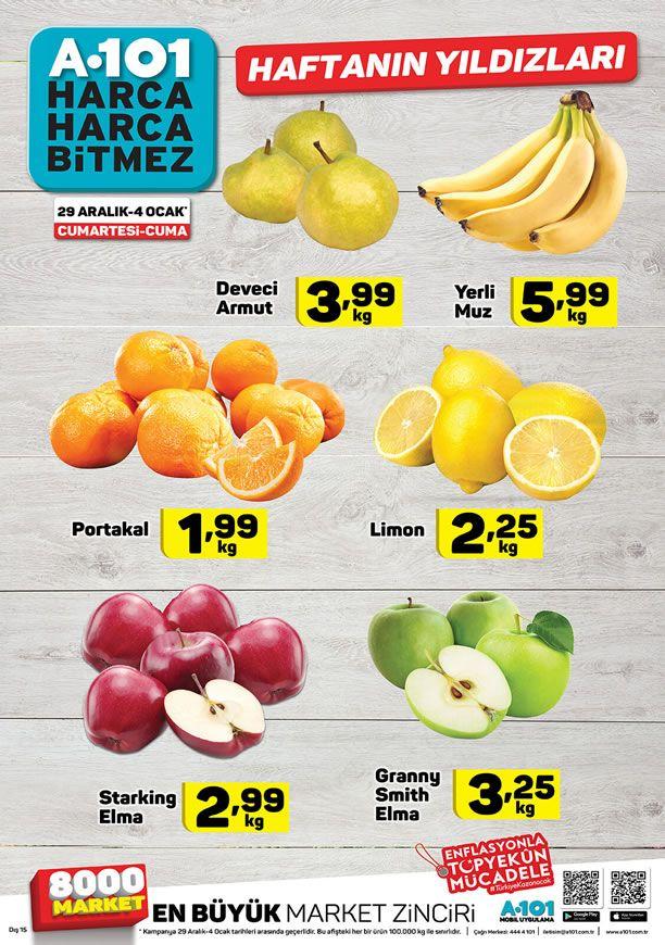 29 Aralık 2018 - 3 Ocak 2019 Arasında A101 Market Meyve Fiyatları