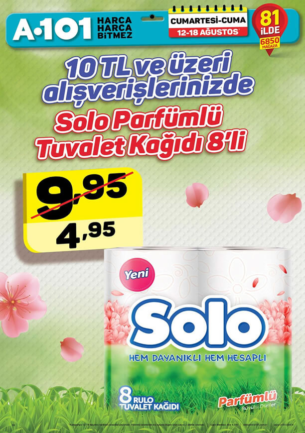 A101 12 - 18 Ağustos - Solo Tuvalet Kağıdı