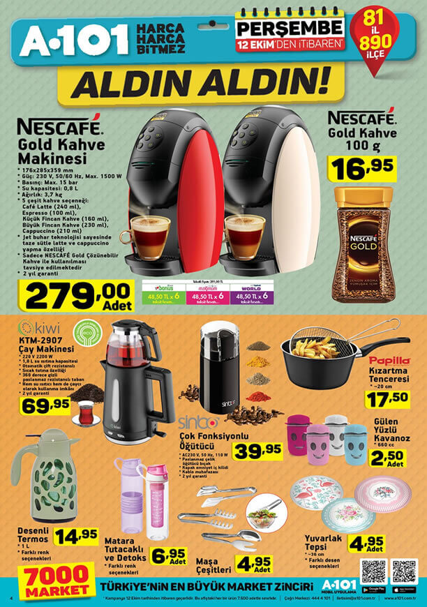 A101 12 Ekim 2017 Aktüel Kiwi Çay Makinesi