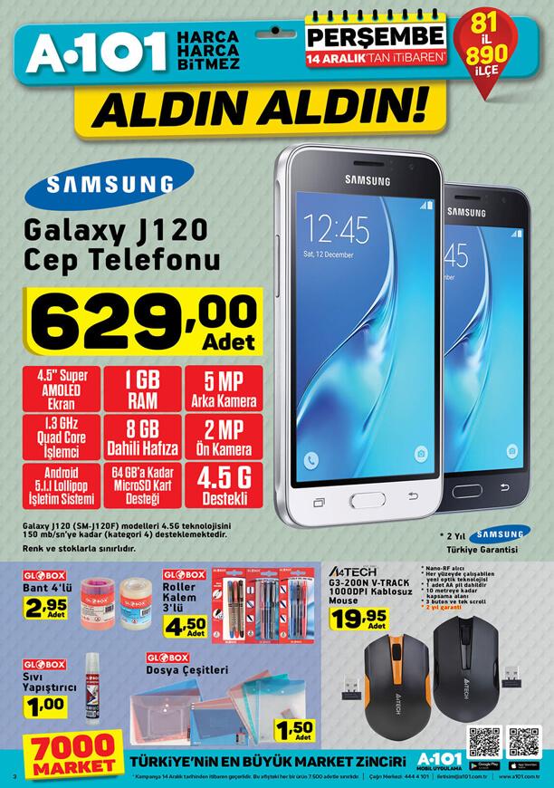 A101 14 Aralık 2017 Aktüel - Samsung Galaxy J120 Cep Telefonu
