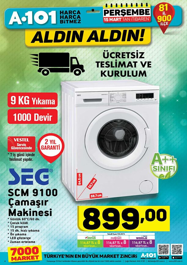A101 15 Mart 2018 Kataloğu - SEG SCM 9100 Çamaşır Makinesi