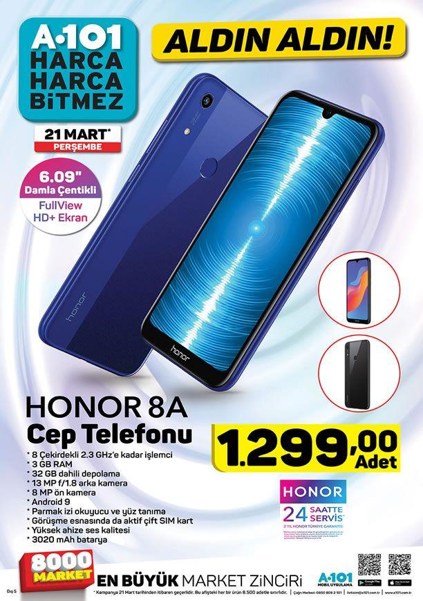 A101 21 Mart 2019 Aktüel Kataloğu - Honor 8A Cep Telefonu