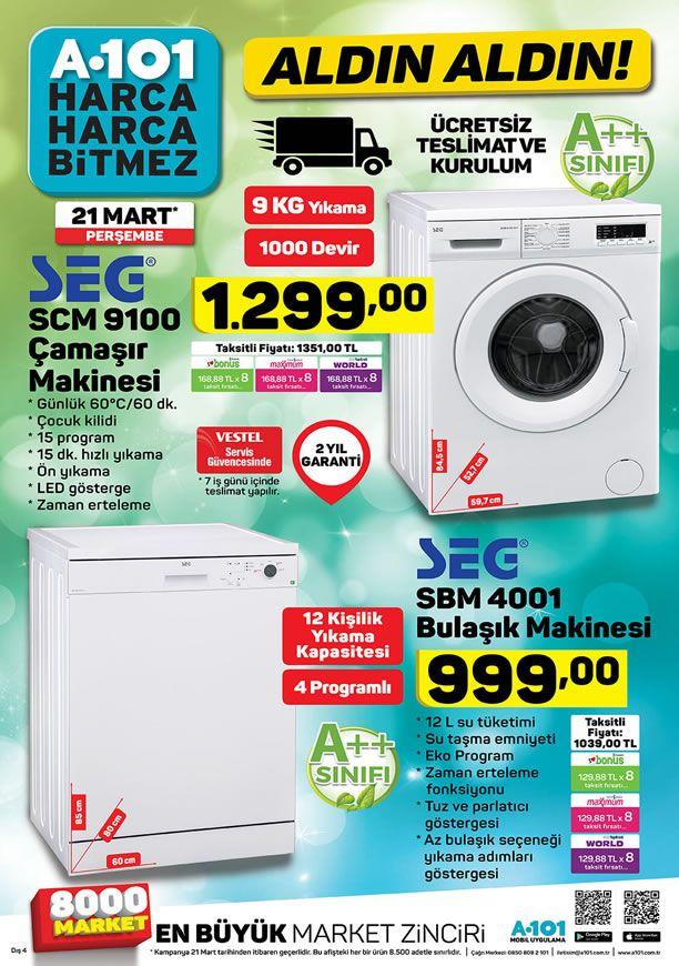 A101 21 Mart 2019 Aldın Aldın - SEG SCM 9100 Çamaşır Makinesi