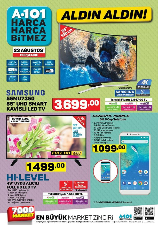 A101 23 Ağustos 2018 Kataloğu - Samsung Smart Kavisli Led Tv