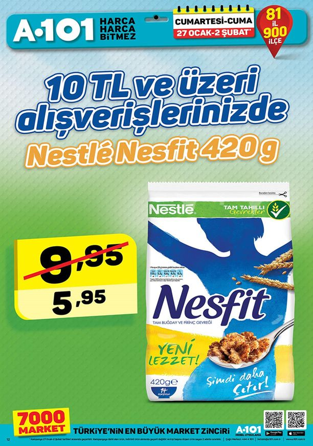 A101 27 Ocak 2018 İndirim Kataloğu - Nestle Nesfit