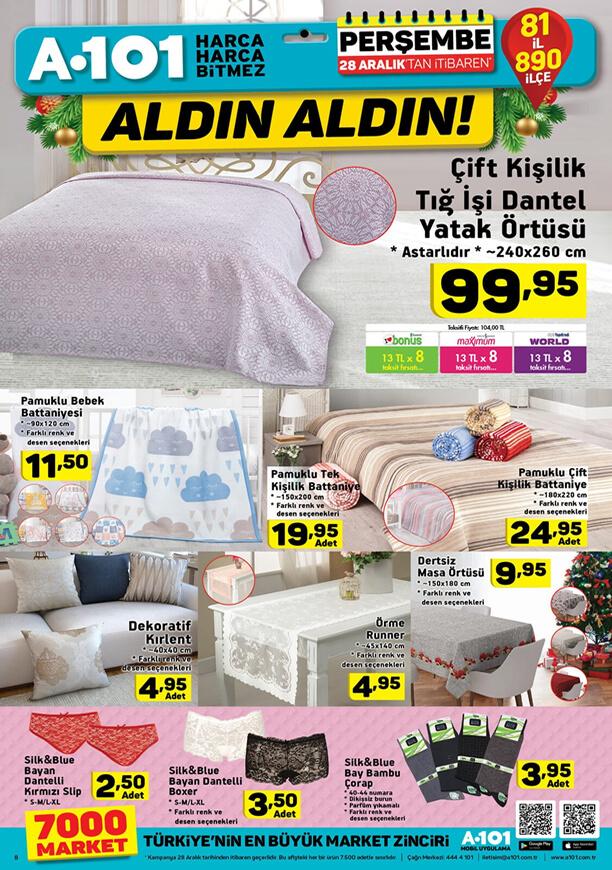 A101 28 Aralık 2017 Aktüel Ürünler Katalogu - Çift Kişilik Tığ İşi Dantel Yatak Örtüsü