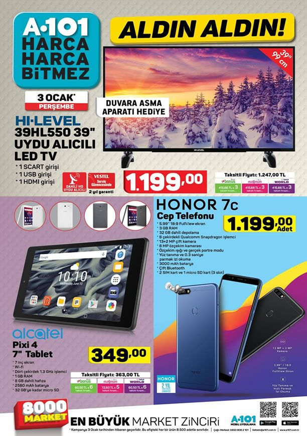 A101 3 Ocak 2019 Aktüel Kataloğu - Honor 7C Cep Telefonu