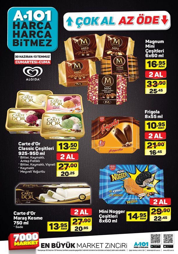 A101 30 Haziran - 13 Temmuz 2018 Dondurma Fiyatları