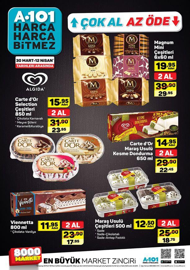 A101 30 Mart - 12 Nisan 2019 Çok Al Az Öde Dondurma Fiyatları