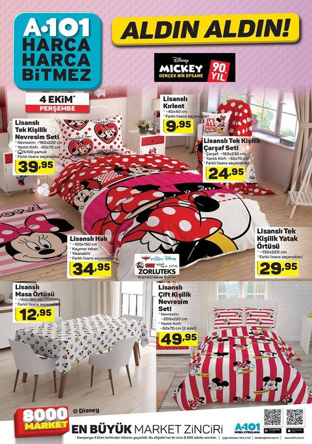 A101 4 Ekim 2018 Kataloğu - Disney Mickey Lisanslı Nevresim Seti