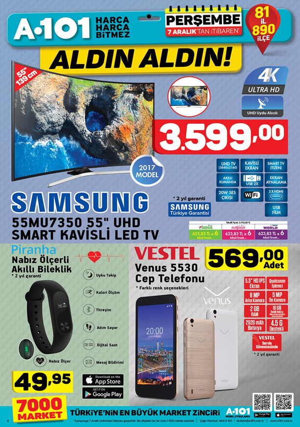 A101 7 Aralık 2017 Samsung Smart Kavisli Led Tv