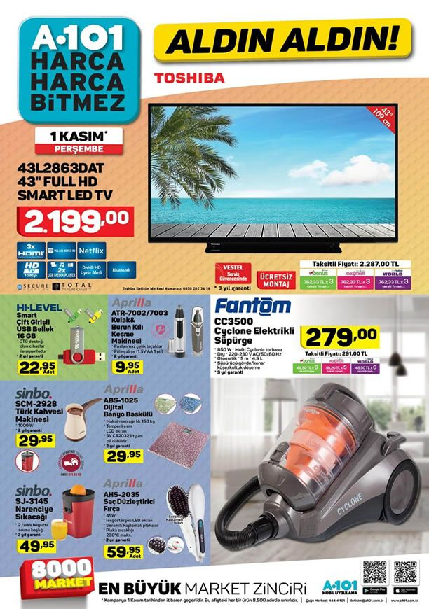 A101 Aktüel 1 Kasım 2018 Kataloğu - Toshiba Full HD Smart Led Tv