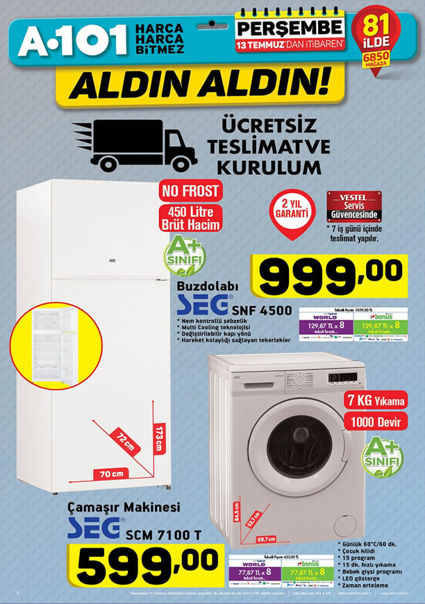 A101 Aktüel 13 Temmuz 2017 - SEG Çamaşır Makinesi