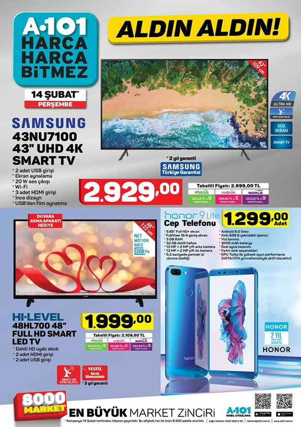 A101 Aktüel 14 Şubat 2019 Kataloğu - Samsung UHD 4K Smart Tv