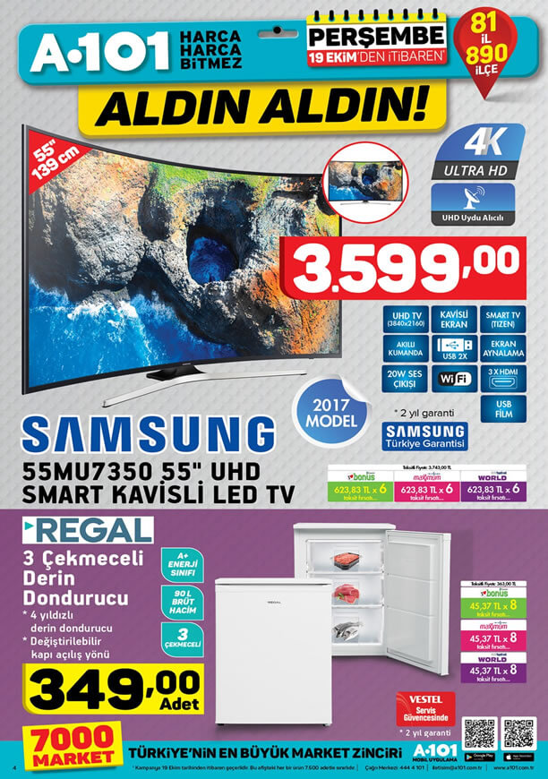 A101 Aktüel 19 Ekim - Samsung 55MU7350 Smart Kavisli Led Tv