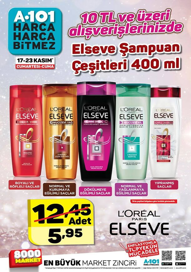 A101 Elseve Şampuan Çeşitleri Kampanyası - 17 - 23 Kasım 2018