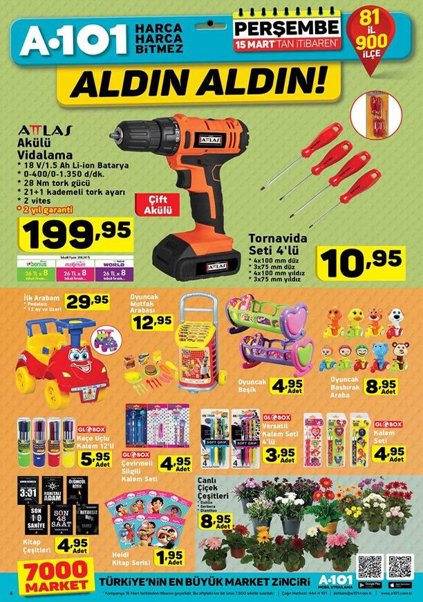 A101 Market 15 Mart 2018 Kataloğu - Attlas Akülü Vidalama