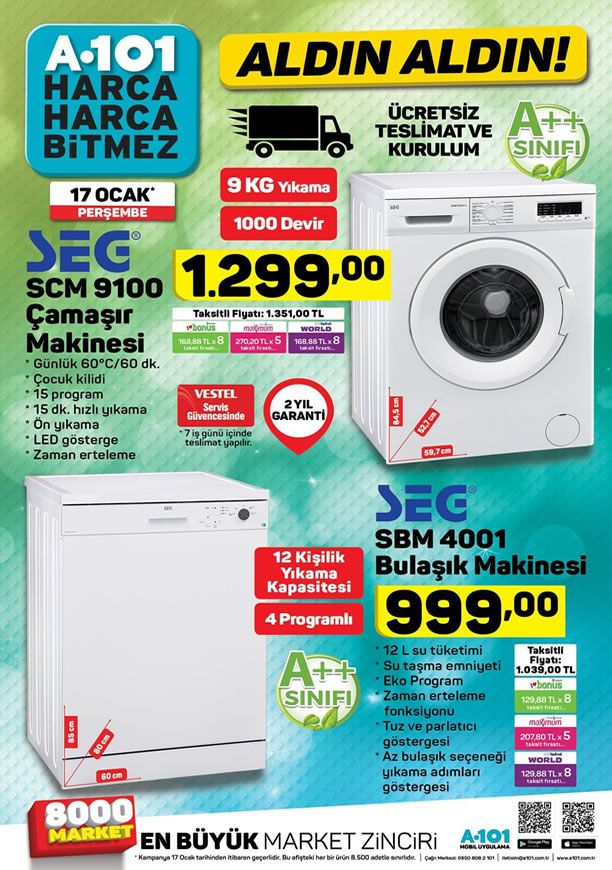 A101 Market 17 Ocak 2019 Kataloğu - SEG Bulaşık Makinesi