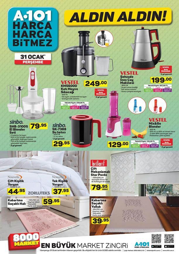 A101 Market 31 Ocak 2019 - Vestel Şehzade Inox Çay Makinesi