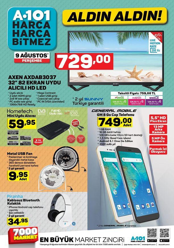 A101 Market 9 Ağustos 2018 Kataloğu - General Mobile GM 8 Go