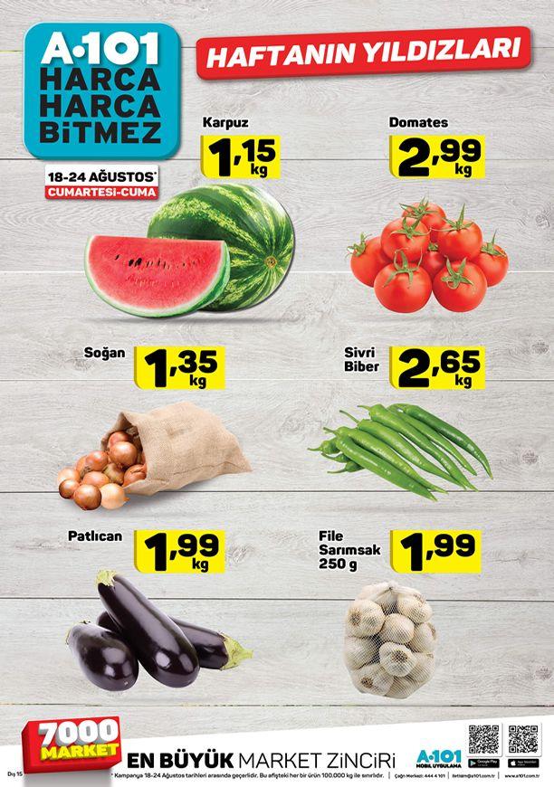 A101 Marlet Sebze Meyve Fiyatları 18 Ağustos - 24 Ağustos 2018