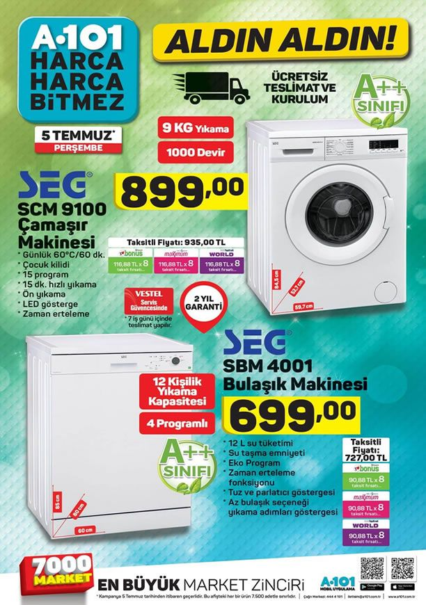 A101 SEG Çamaşır Makinesi - A101 5 Temmuz 2018 Kataloğu