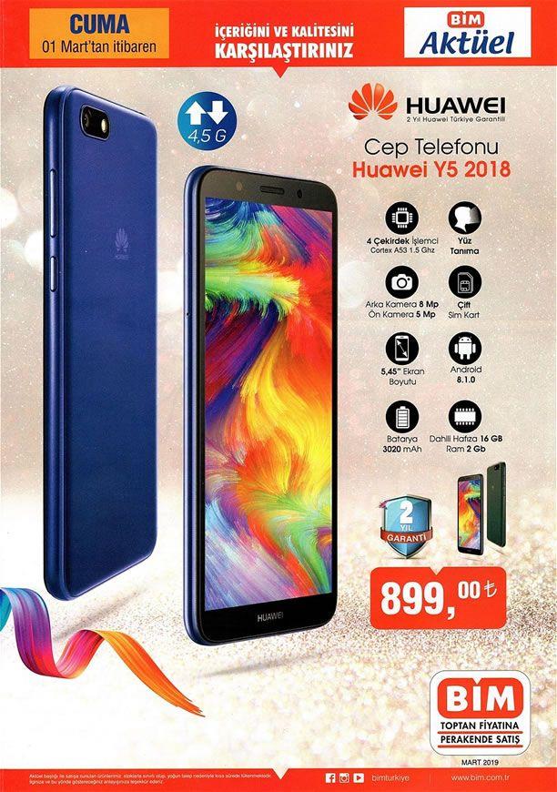 BİM 01.03.2019 Cuma Kataloğu - Huawei Y5 2018 Cep Telefonu