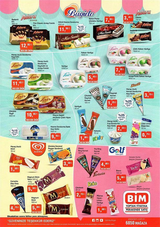 BİM 23 Nisan - 29 Nisan 2019 Dondurma Fiyatları Listesi