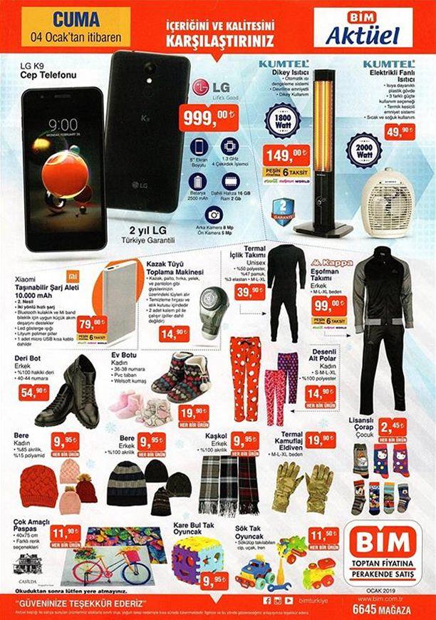 BİM Aktüel Ürünler 4 Ocak 2019 Cuma Kataloğu - LG K9 Cep Telefonu