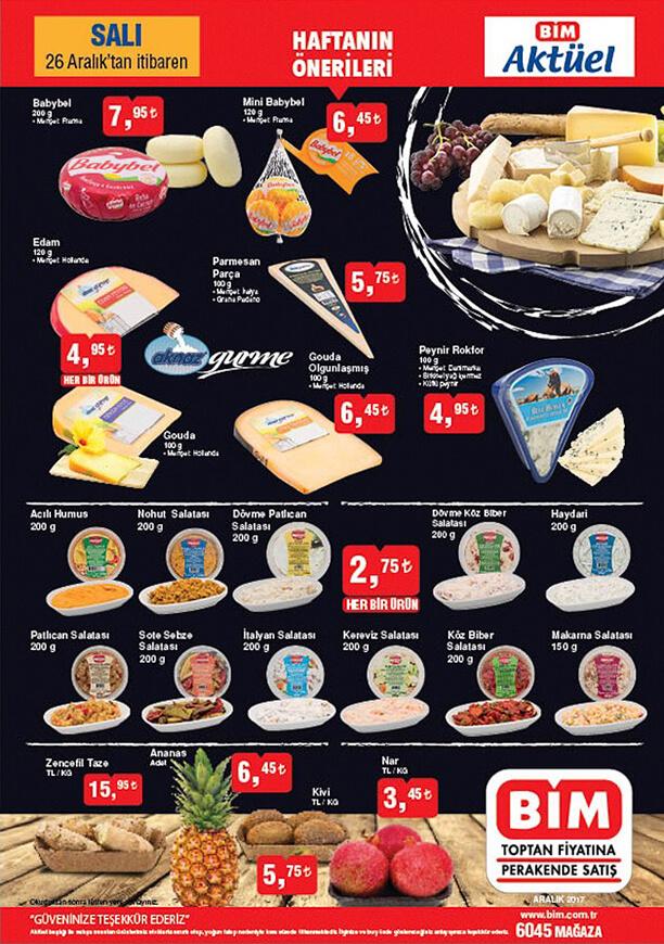 BİM Market 26 Aralık 2017 Fırsat Ürünleri - Meze Çeşitleri