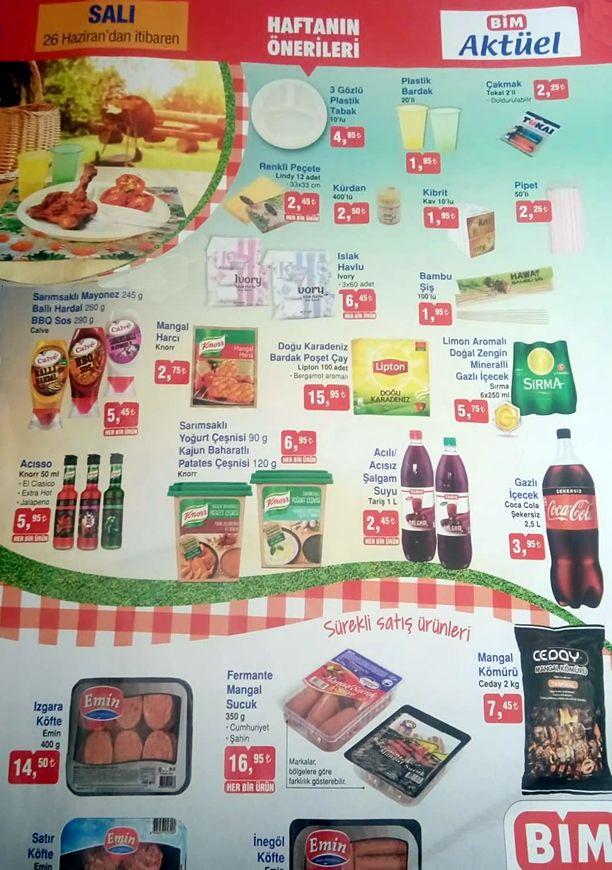 BİM Market 26 Haziran 2018 Salı Fırsatları Kampanyası