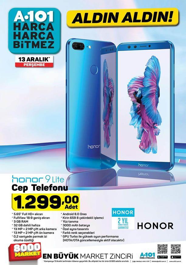 Honor 9 Lite Cep Telefonu 13 Aralık 2018 Perşembe A101 Market