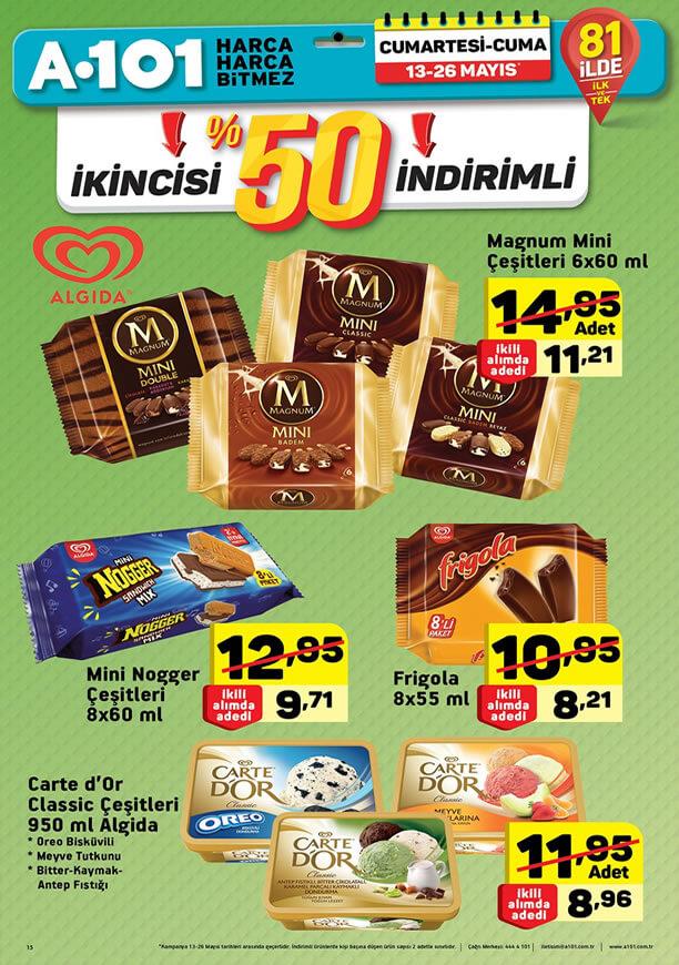 A101 13 Mayıs 2017 Dondurma Fiyatları Katalogu