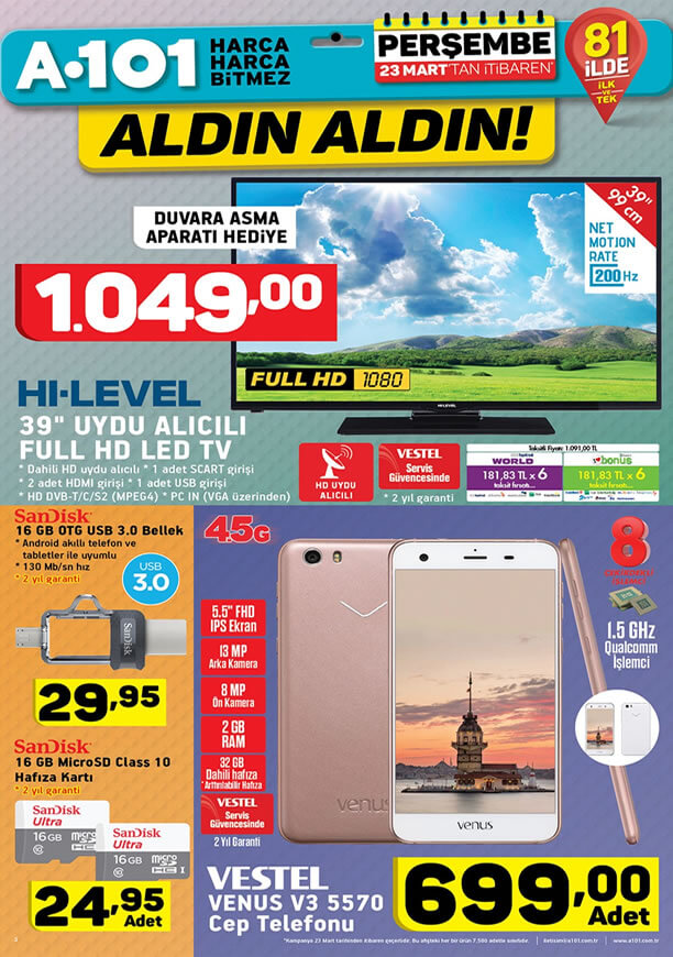 A101 23 Mart 2017 Katalogu - HI-LEVEL Uydu Alıcılı Full HD Led Tv