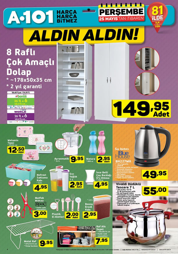A101 25 Mayıs 2017 Katalogu - 8 Raflı Çok Amaçlı Dolap
