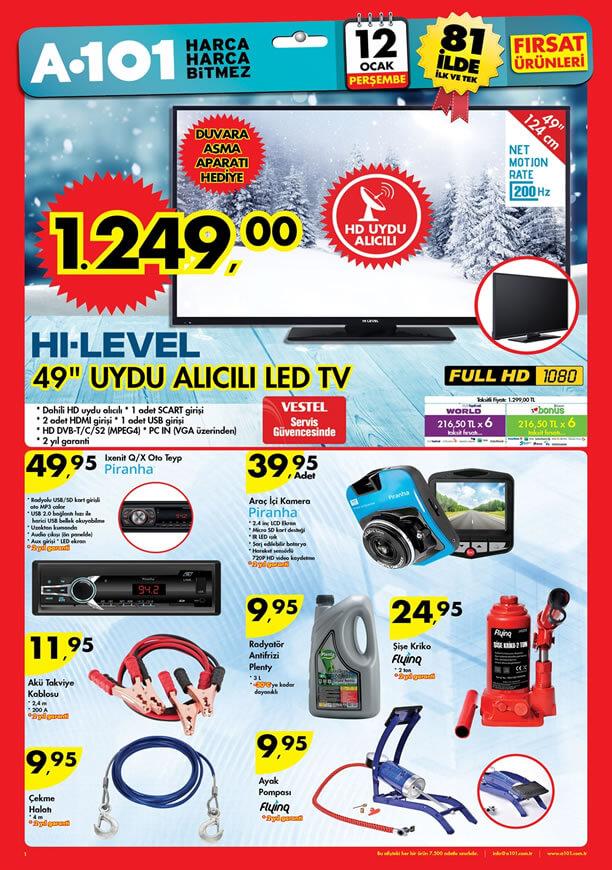 A101 Market 12 Ocak 2017 Katalogu - HI-LEVEL Uydu Alıcılı LED Tv