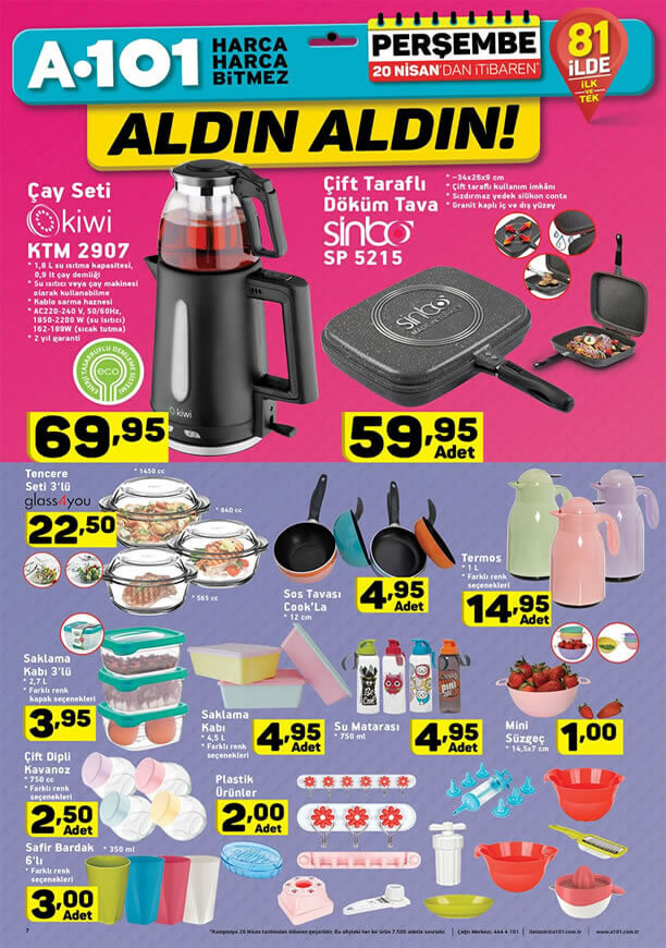 A101 Market 20 Nisan 2017 Fırsatları - Kiwi Çay Seti
