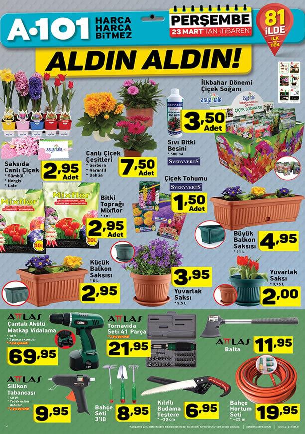 A101 Market 23 Mart 2017 Katalogu - Bahçe ve Çiçek Ürünleri