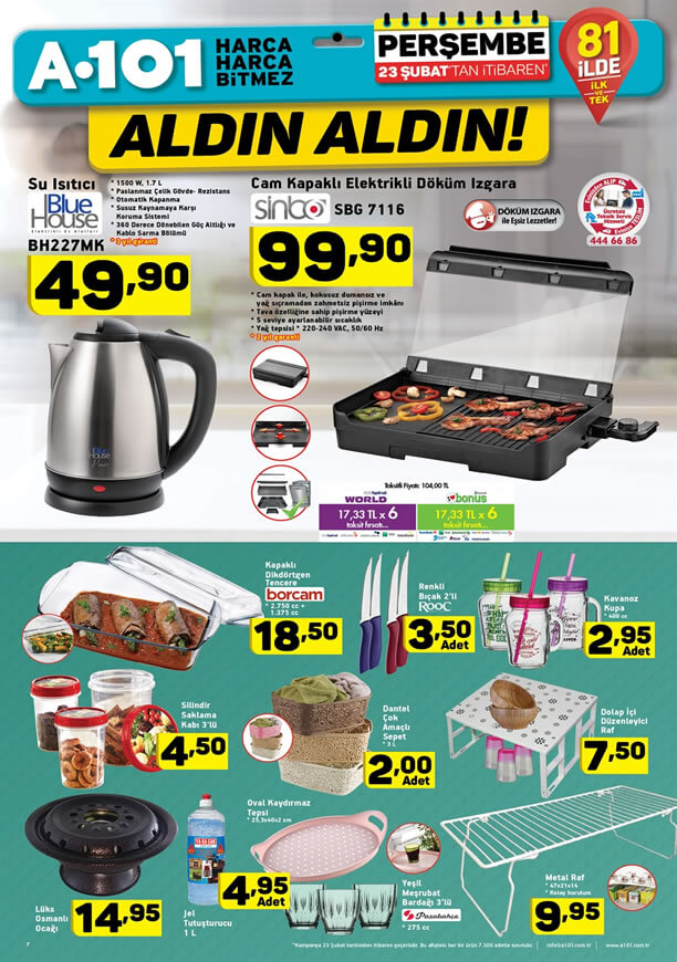 A101 Market 23 Şubat 2017 Katalogu - Cam Kapaklı Döküm Izgara
