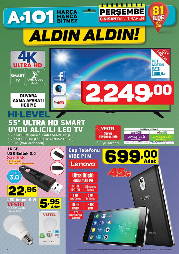 A101 Market 6 Nisan 2017 Katalogu - Lenovo Vibe Cep Telefonu