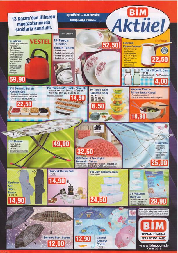 BİM 13 Kasım 2015 Fırsat Ürünleri Katalogu - Vestel Su Isıtıcı