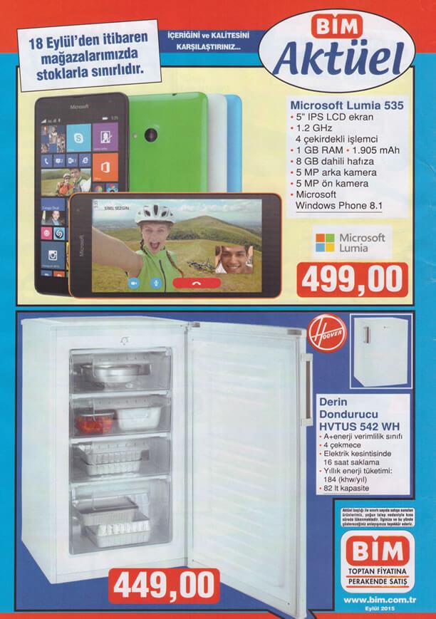 BİM 18.09.2015 Aktüel Ürünler - Derin Dondurucu - Lumia 535