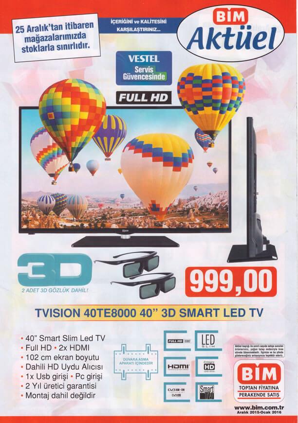 BİM 25 Aralık 2015 Katalogu - Vestel Tvision 40TE8000 3D Smart Led Tv