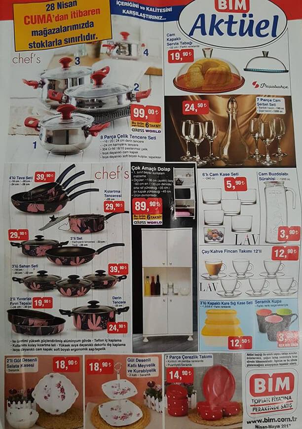 BİM 28 Nisan 2017 Katalogu - 8 Parça Çelik Tencere Seti