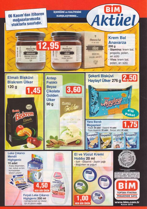 BİM 6 Kasım 2015 Fırsat Ürünleri Broşürü - Anavarza Krem Bal