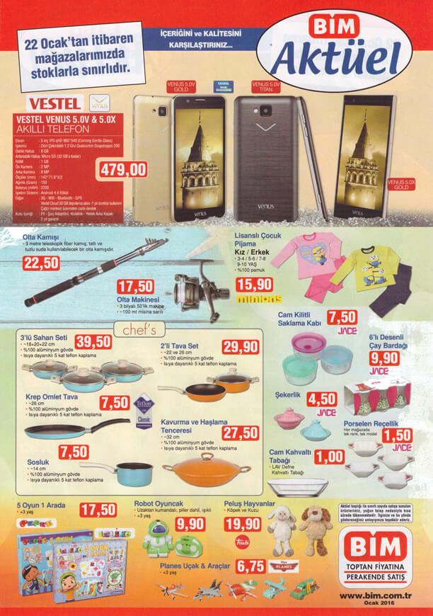 BİM Aktüel 22 Ocak 2016 Katalogu - Vestel Venüs 5.0V-5.0X Akıllı Telefon
