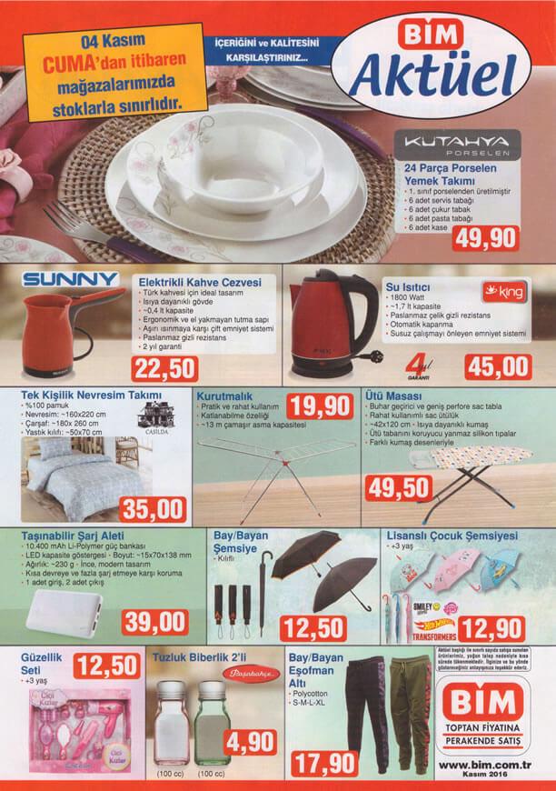 BİM Aktüel 4 Kasım 2016 Katalogu - Kütahya Porselen Yemek Takımı