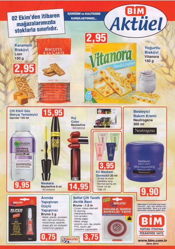 Bim Aktüel ürünler 2 Ekim 2015 Katalogu Meybelline Garnier