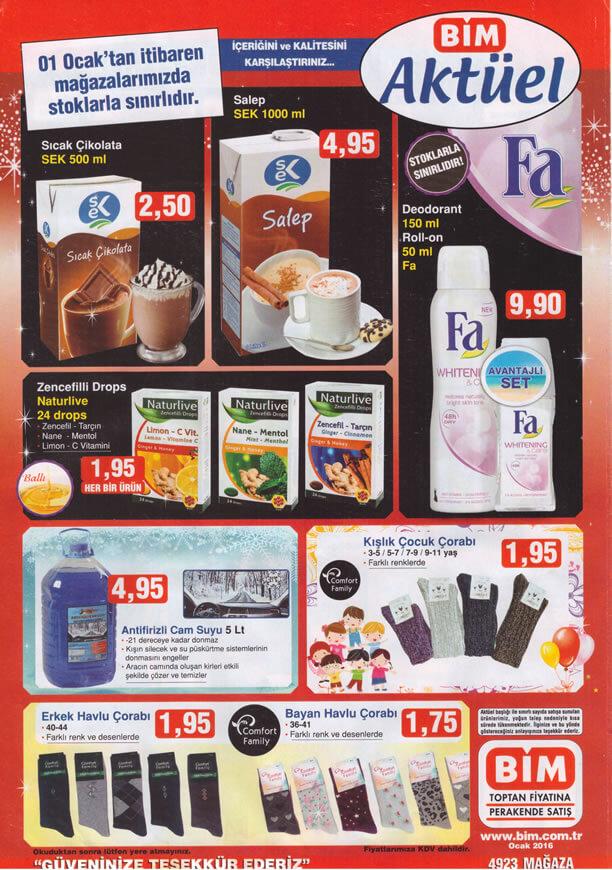 BİM Fırsat Ürünleri 1 Ocak 2016 Broşürü - Antifrizli Cam Suyu