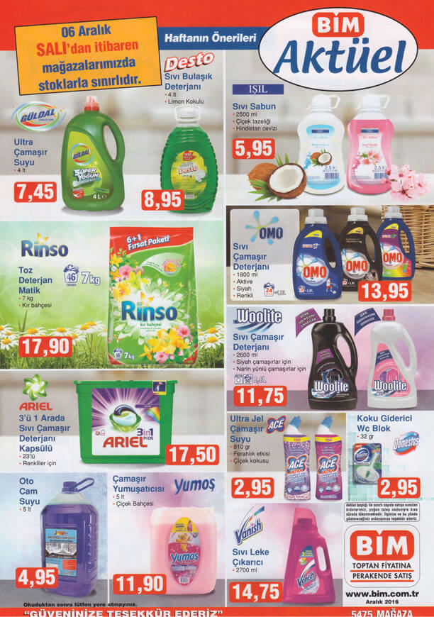BİM Fırsat Ürünleri 6 Aralık 2016 Katalogu - Temizlik Ürünleri